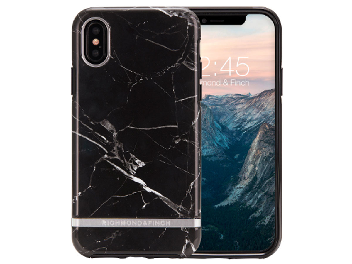 Richmond & Finch Black Marble - iPhone Xs Max hoesje Marmer print