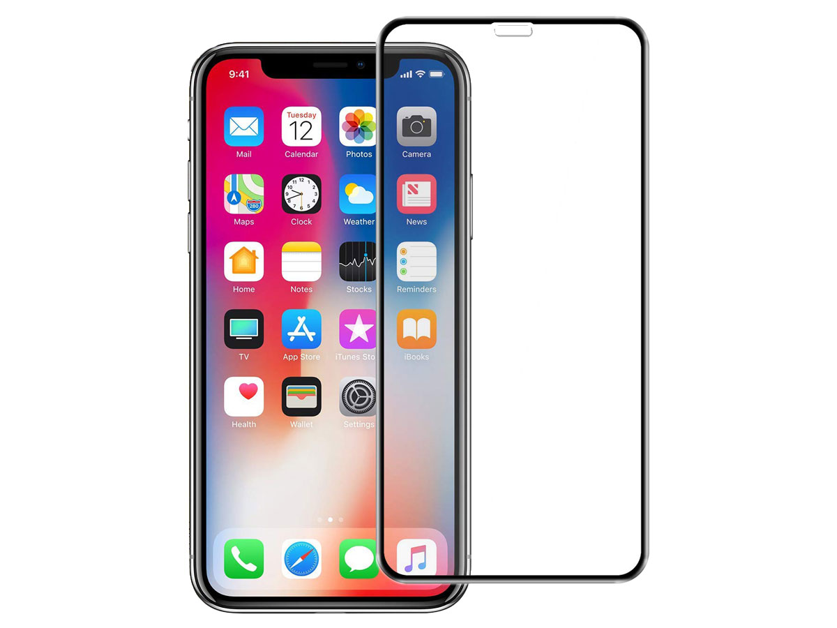 iPhone Xs Max Screenprotector Edge to Edge Curved Tempered Glass Transparant