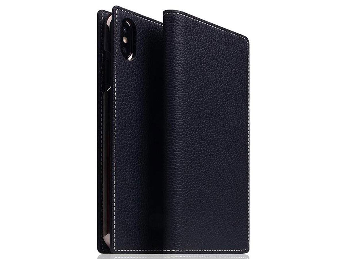 SLG Design D8 Book Navy Leer - iPhone Xs Max hoesje Donkerblauw