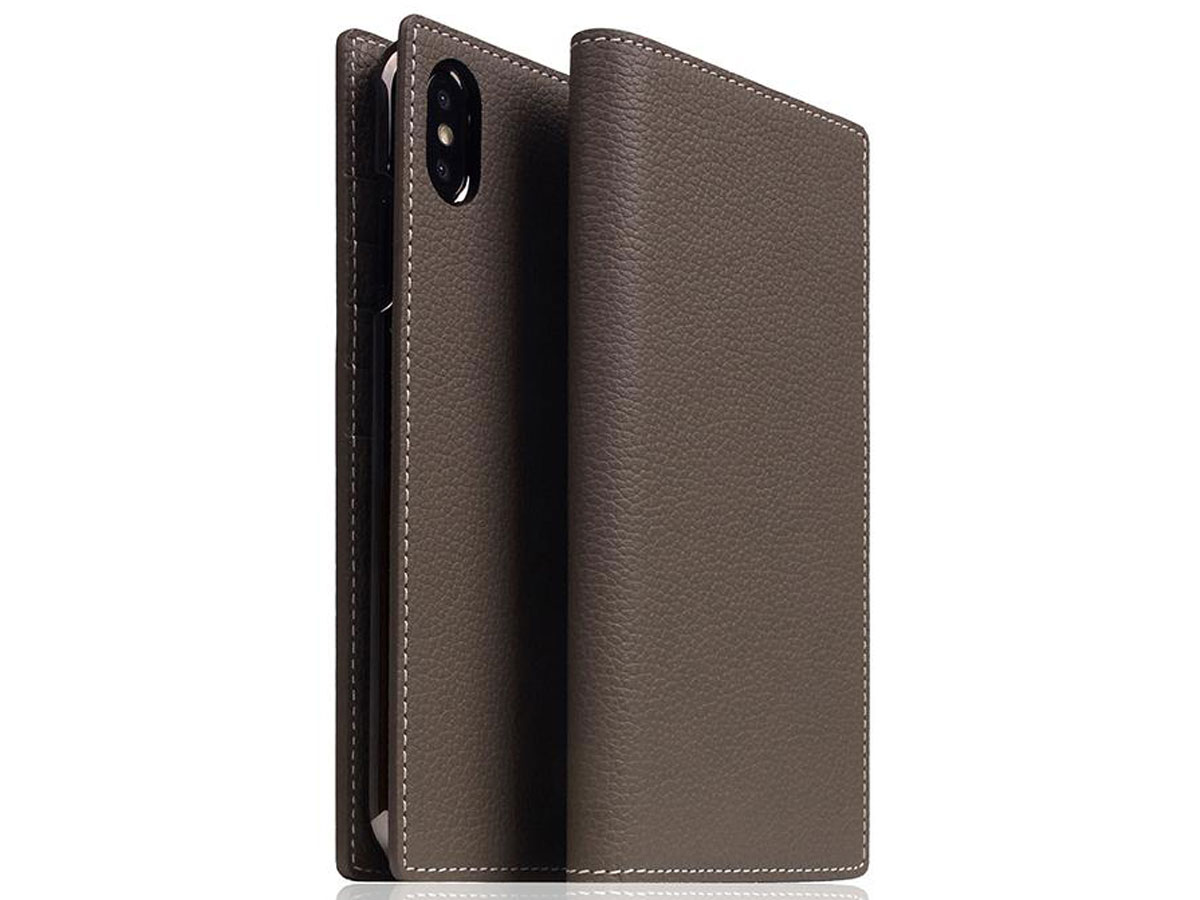 SLG Design D8 Book Etoff Leer - iPhone Xs Max hoesje Taupe