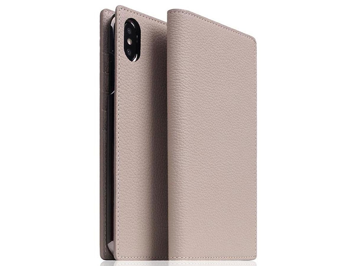 SLG Design D8 Book Cream Leer - iPhone Xs Max hoesje Beige