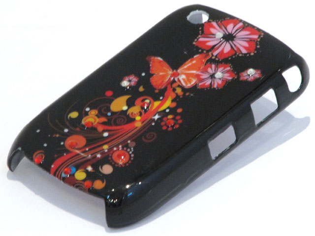 Crystals Black Butterflies Case Blackberry Curve 8520/9300