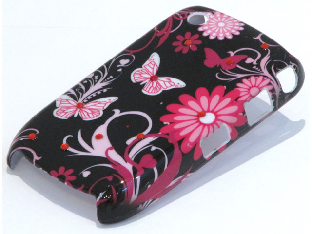 Crystals Pink Butterflies Case Blackberry Curve 8520/9300