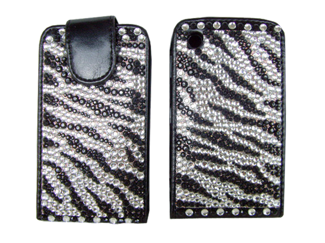 Blackberry Curve 8520 Zebra Diamond Flip Case