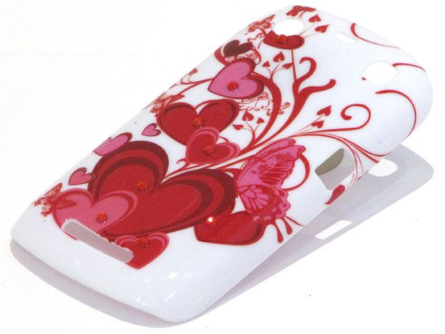 Crystals Red Hearts Case voor Blackberry Curve 9360