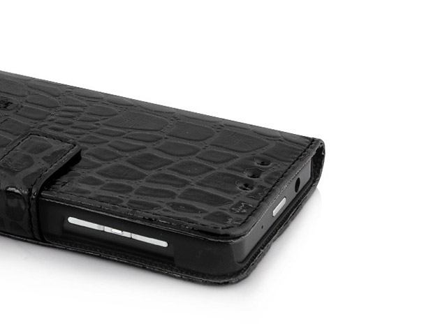 croco sideflip wallet case voor blackberry z10. Black Bedroom Furniture Sets. Home Design Ideas