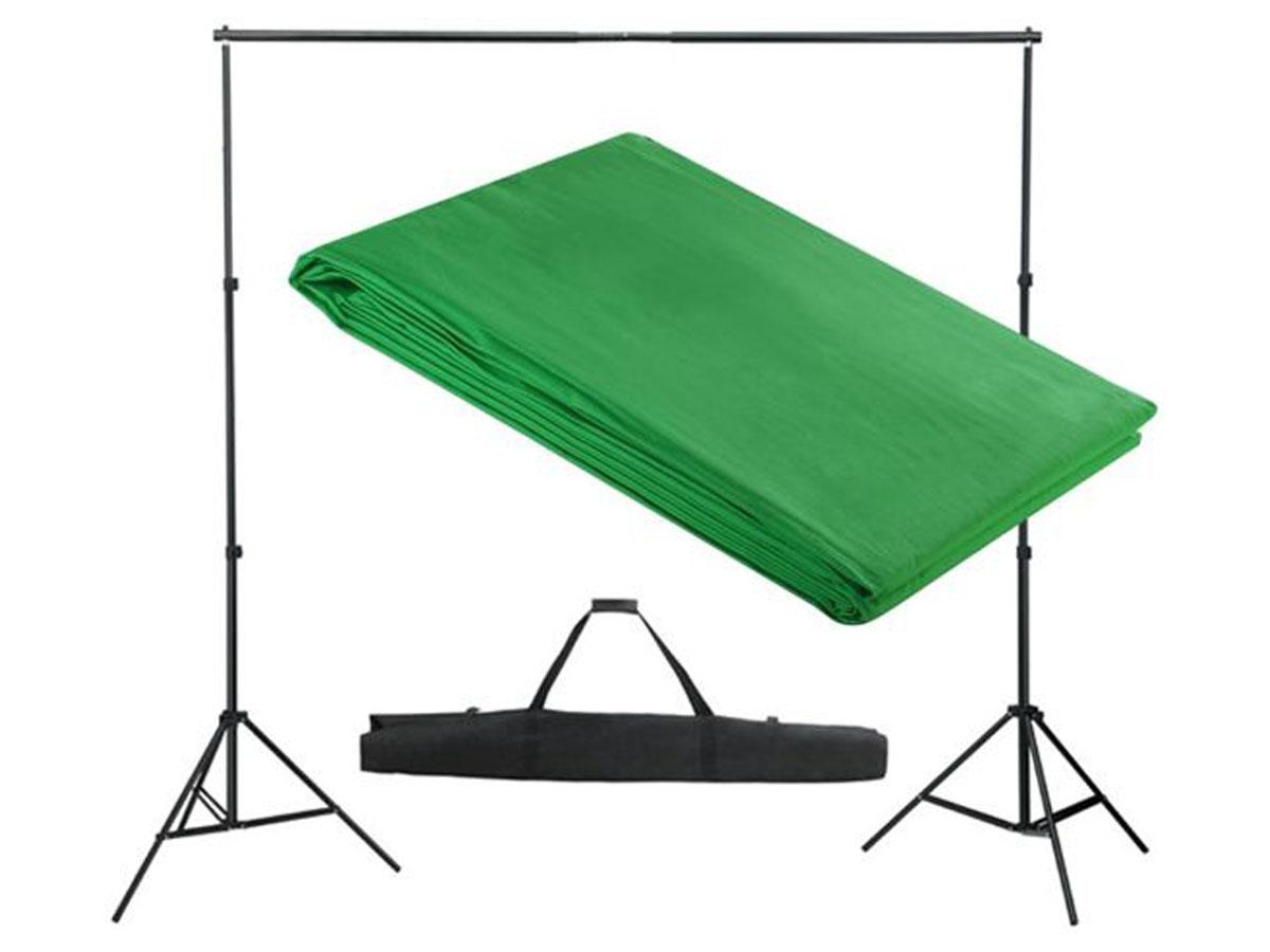 Green Screen 3 x 3 meter Incl Ophangsysteem en Draagtas Groen
