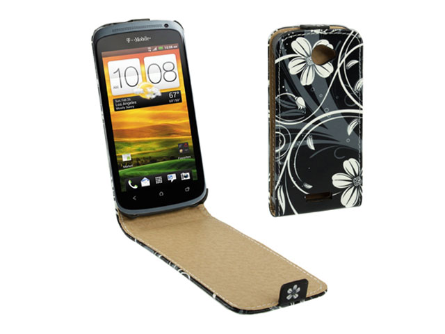 Black Flowers Kunstleren Flip Case voor HTC One X