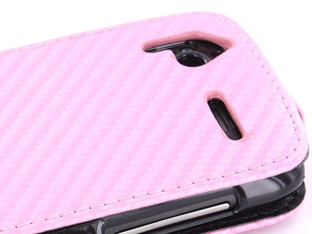 Carbon Flip Case Hoes voor HTC Sensation (G14)