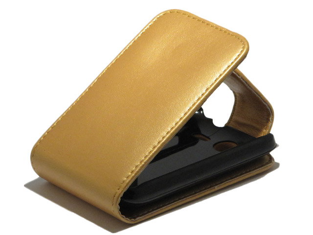 Golden Leather Flip Case voor HTC Wildfire S