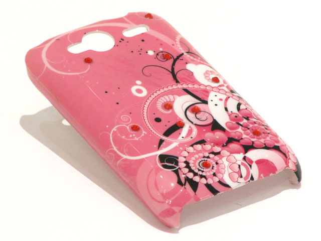 Crystals Funky Hearts Case voor HTC Wildfire S