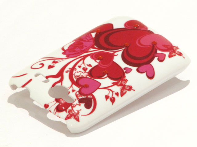 Crystals Red Hearts Butterflies Case voor HTC Wildfire S