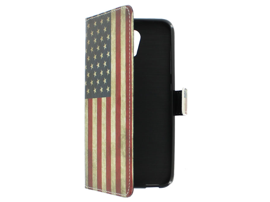 Vintage USA Flag Book Case Hoesje voor HTC Desire 620