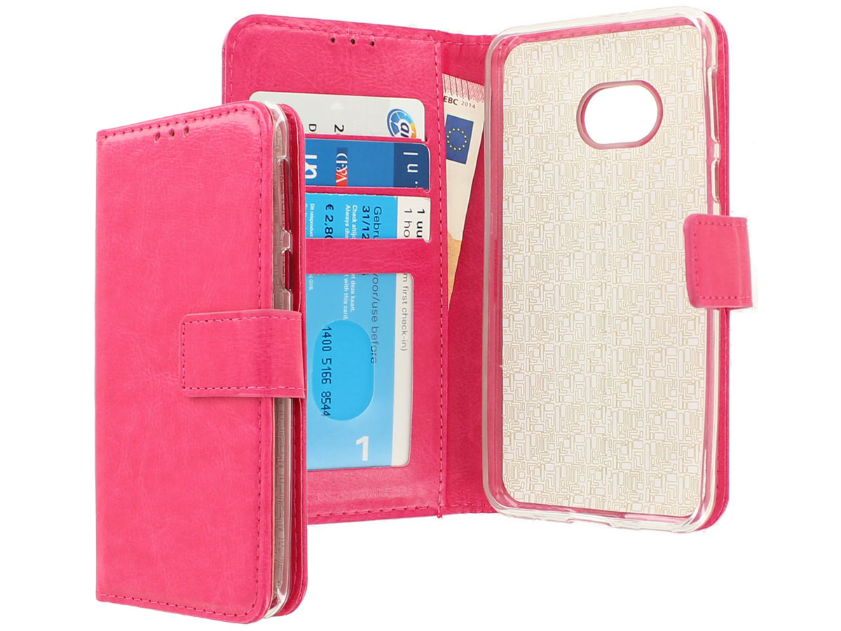 Wallet Bookcase Roze - HTC U Play hoesje