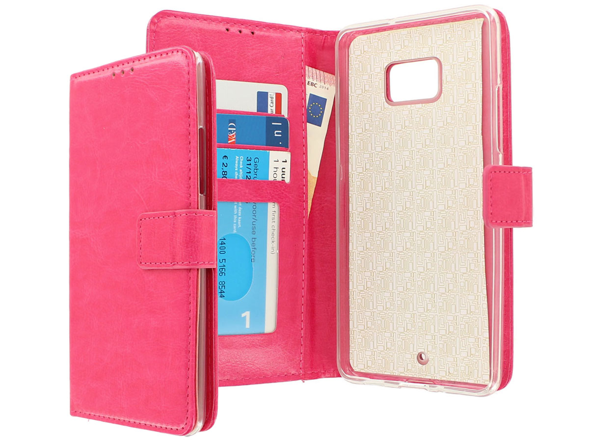 Wallet Bookcase Roze - HTC U Ultra hoesje