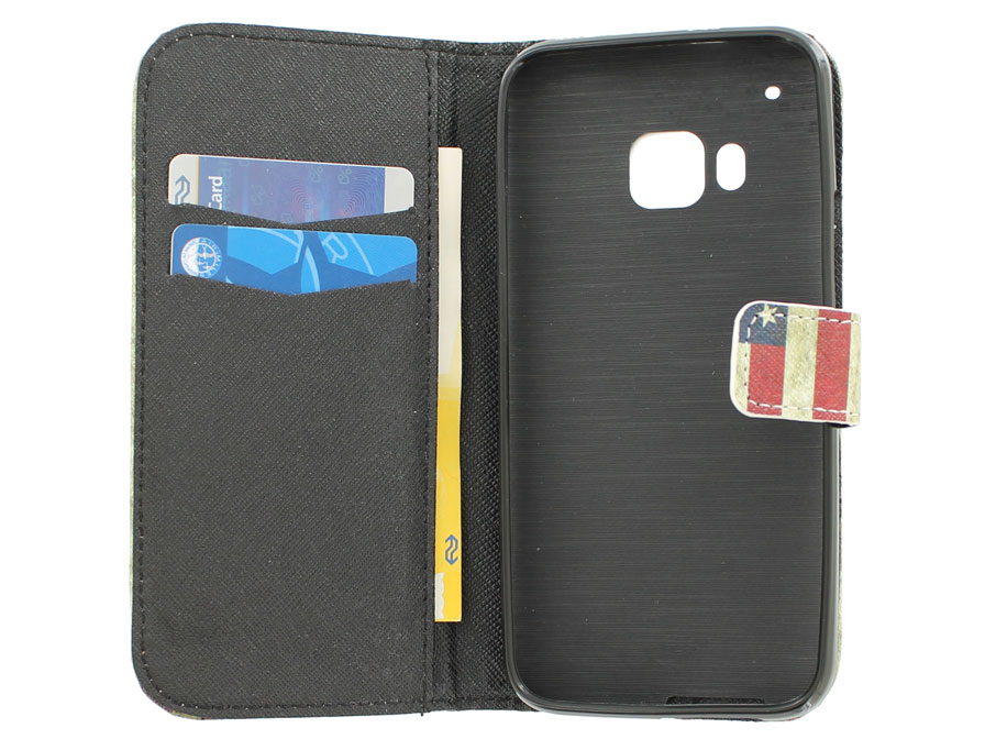 Vintage USA Flag Book Case Hoesje voor HTC One M9