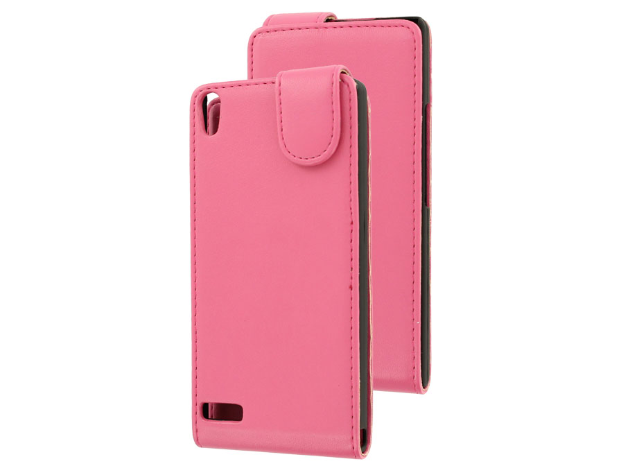 Classic Leather Flip Case - Huawei Ascend P6 hoesje