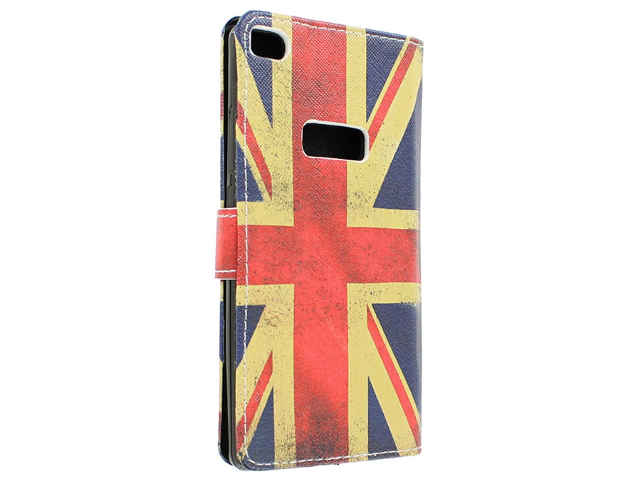 Vintage GB Flag Book Case Hoesje voor Huawei Ascend P8
