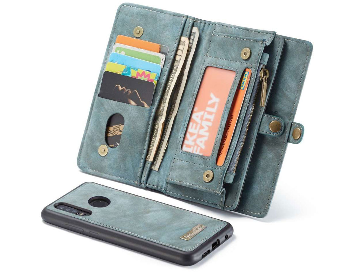 CaseMe 2in1 Wallet Ritsvak Case Blauw - Huawei P30 Lite (New Edition) Hoesje