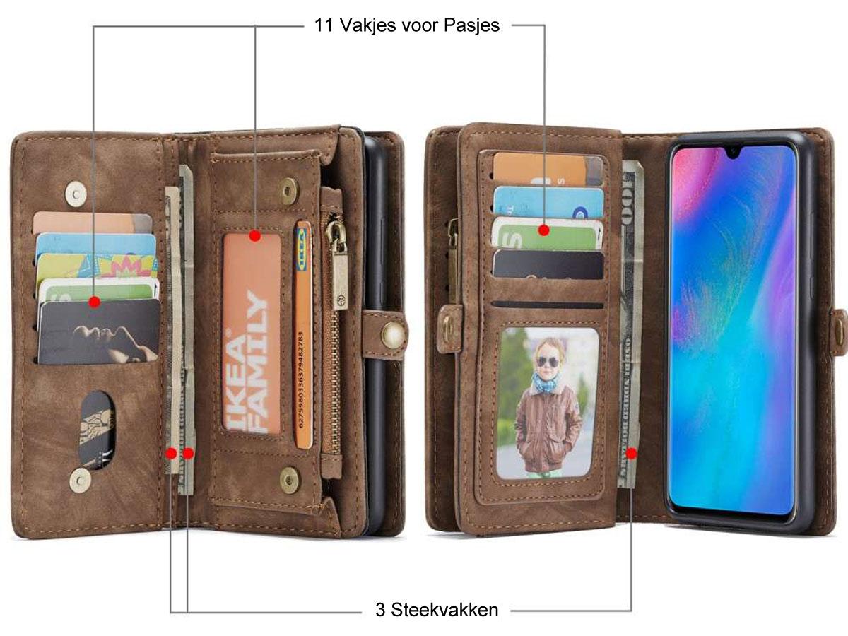 CaseMe 2in1 Wallet Ritsvak Case Bruin - Huawei P30 Lite (New Edition) Hoesje