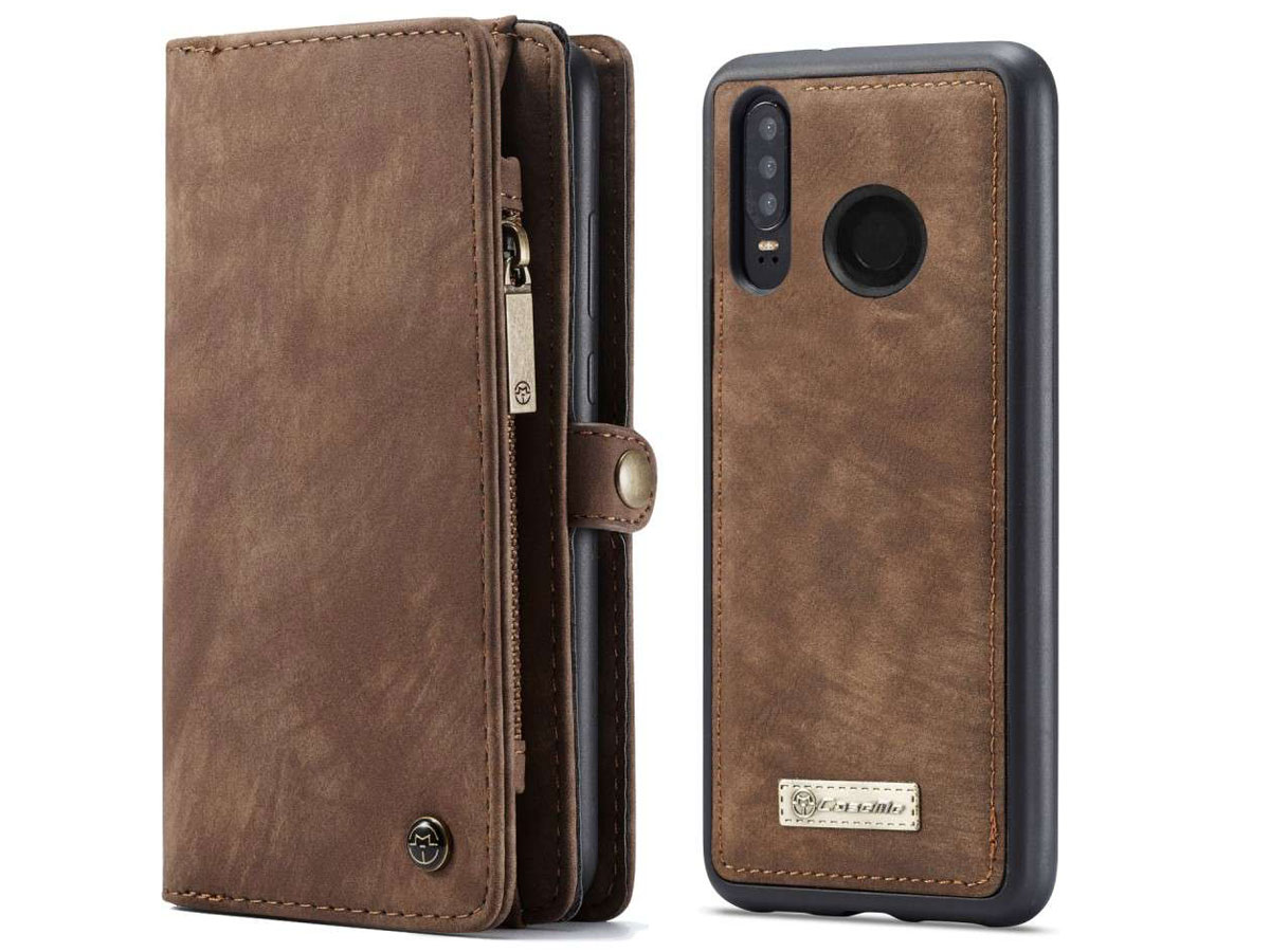 CaseMe 2in1 Wallet Ritsvak Case Bruin - Huawei P30 Lite (New Edition) Hoesje