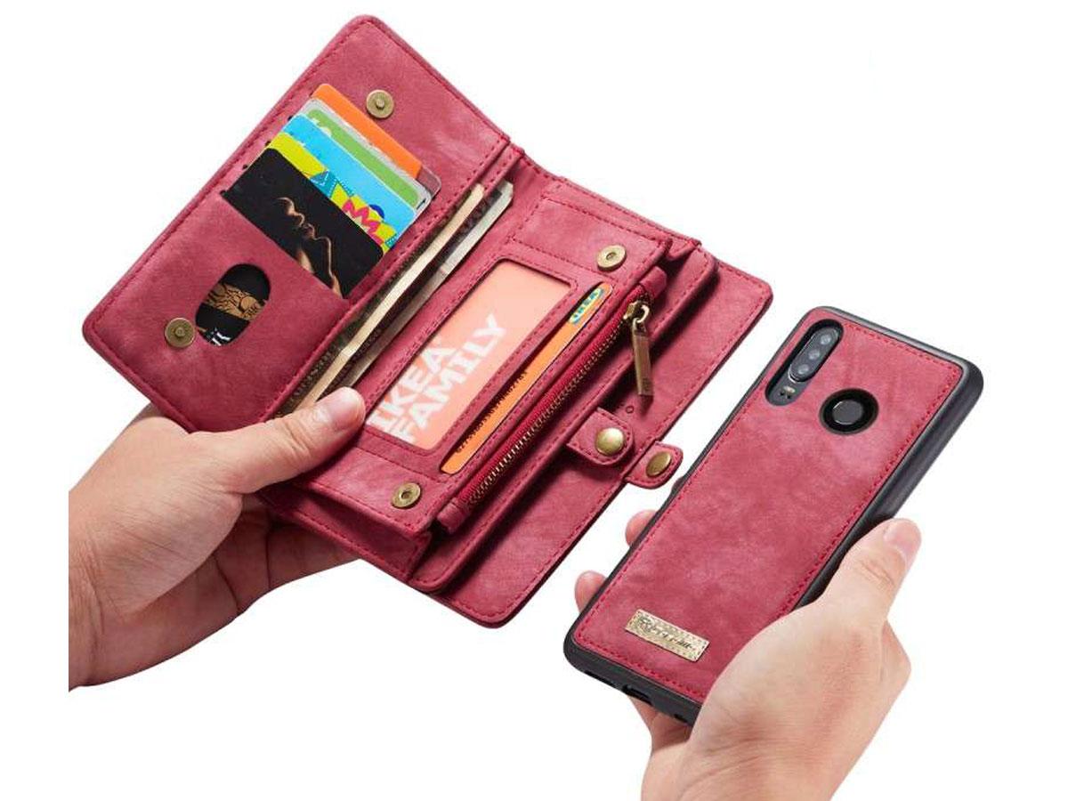 CaseMe 2in1 Wallet Ritsvak Case Rood - Huawei P30 Lite (New Edition) Hoesje