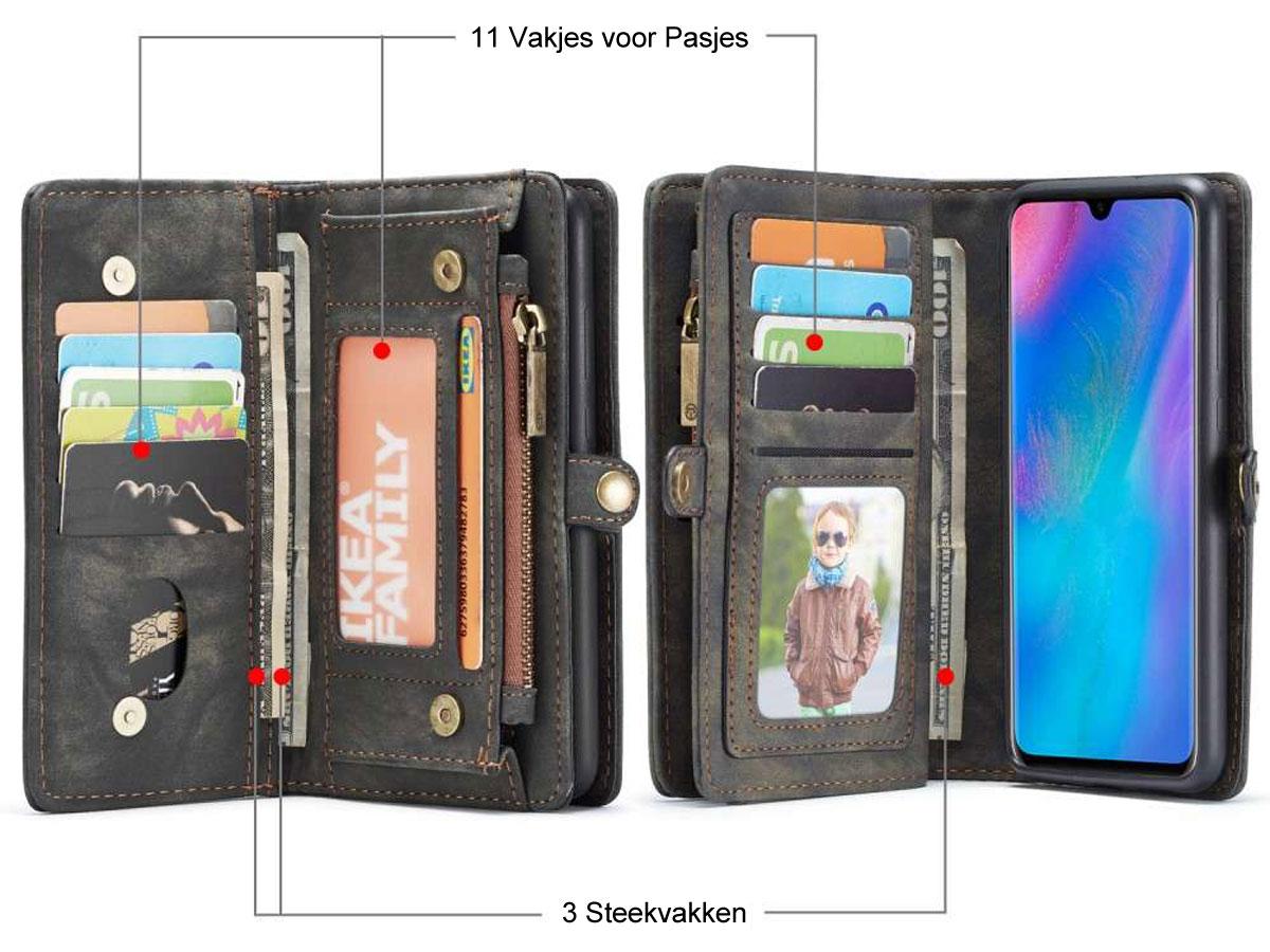 CaseMe 2in1 Wallet Ritsvak Case Zwart - Huawei P30 Lite (New Edition) Hoesje