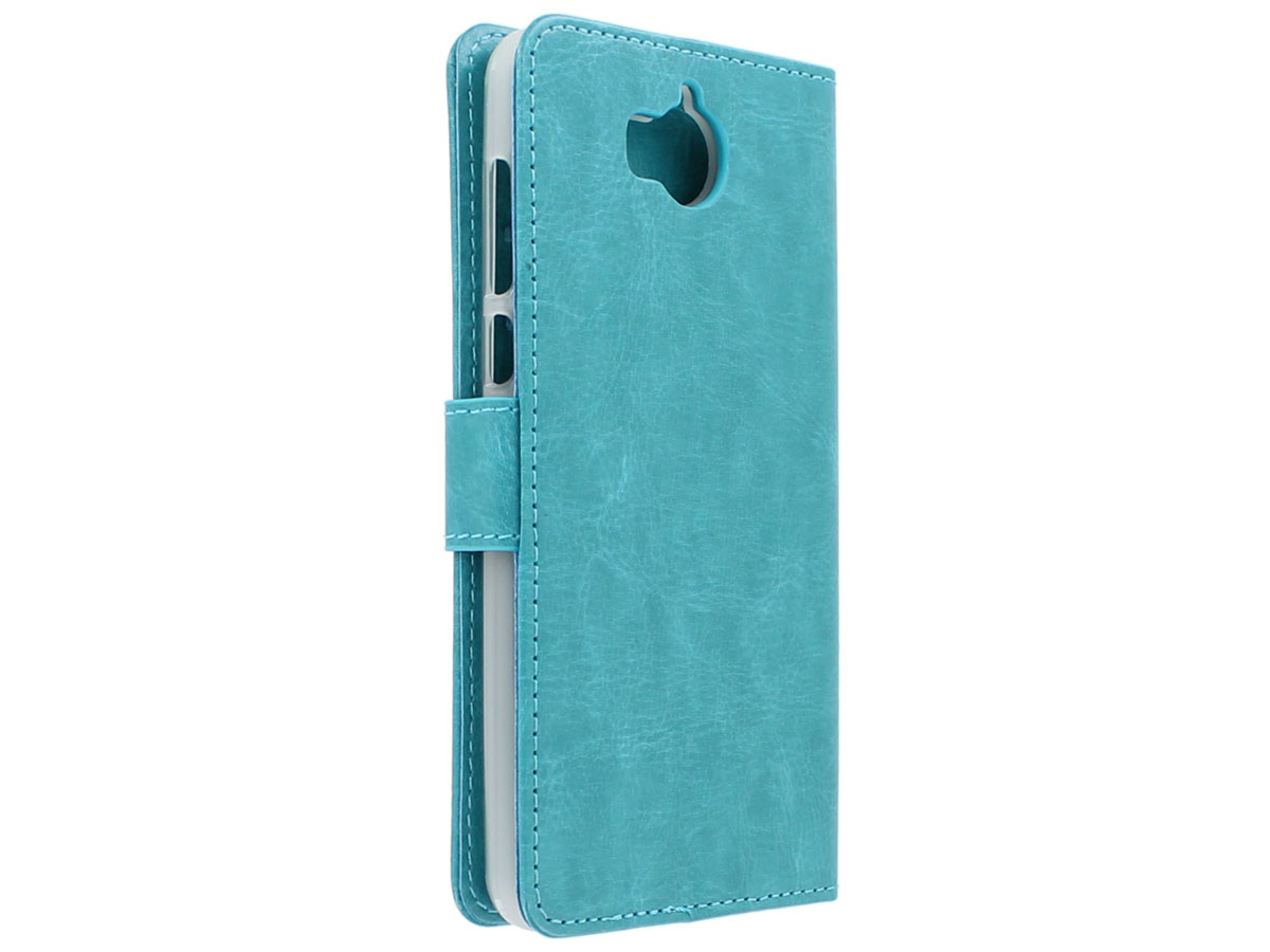 Bookcase Turquoise - Huawei Y6 2017 hoesje