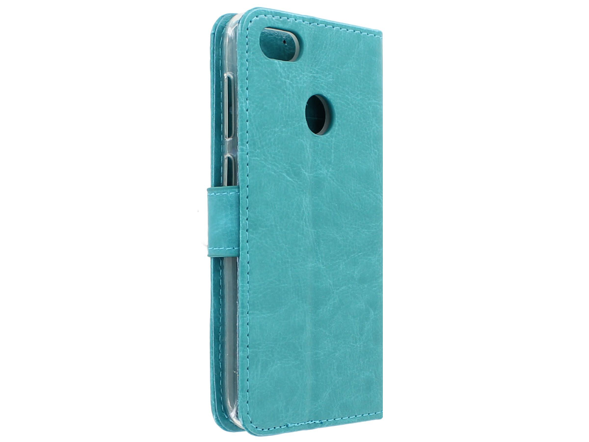 huawei y6 pro 2017 hoesje bookcase wallet turquoise. Black Bedroom Furniture Sets. Home Design Ideas