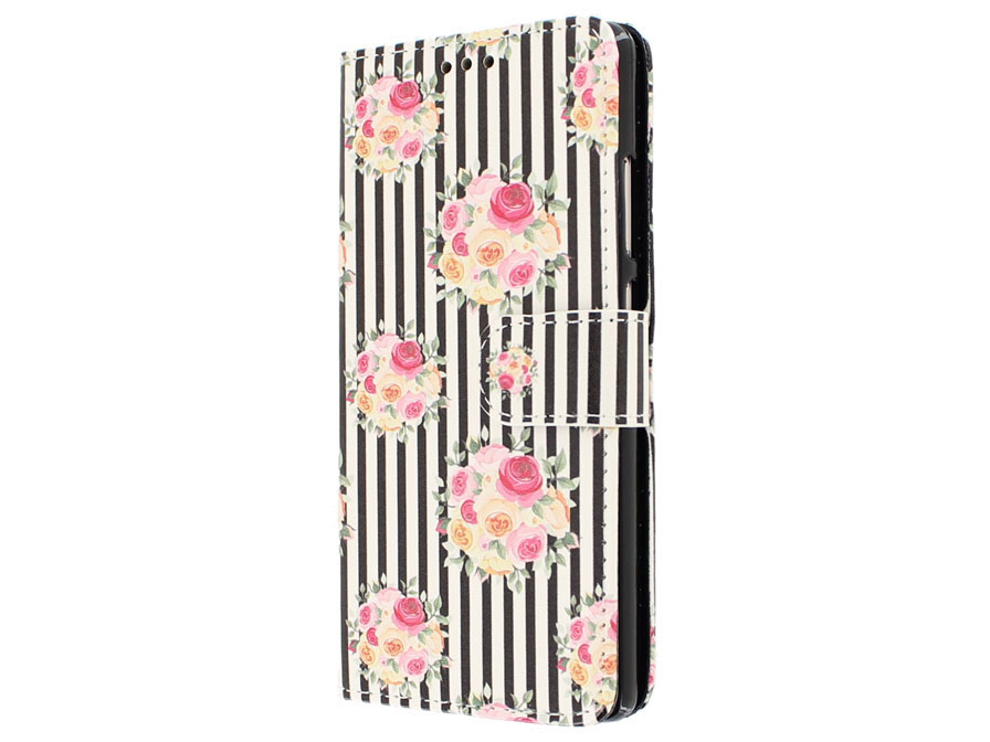 Striped Flower Bookcase - Huawei P9 Hoesje