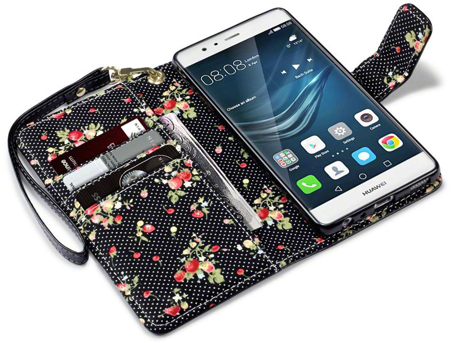 CaseBoutique Flower Bookcase - Huawei P9 hoesje