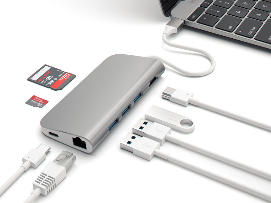 Satechi USB-C Multi-Port Hub met USB HDMI Ethernet SD