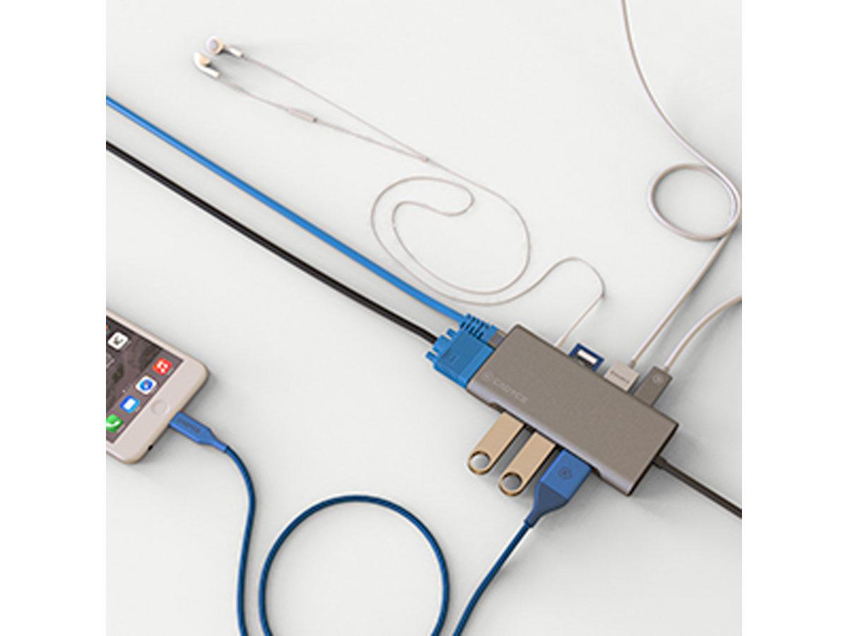 Cadyce USB-C 10-port Hub met USB-A Ethernet HDMI VGA PD AUX