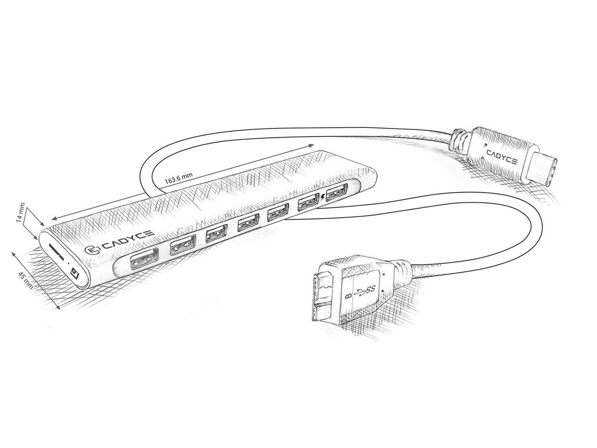 Cadyce USB-C naar 7 x USB-A 3.0 Hub Adapter
