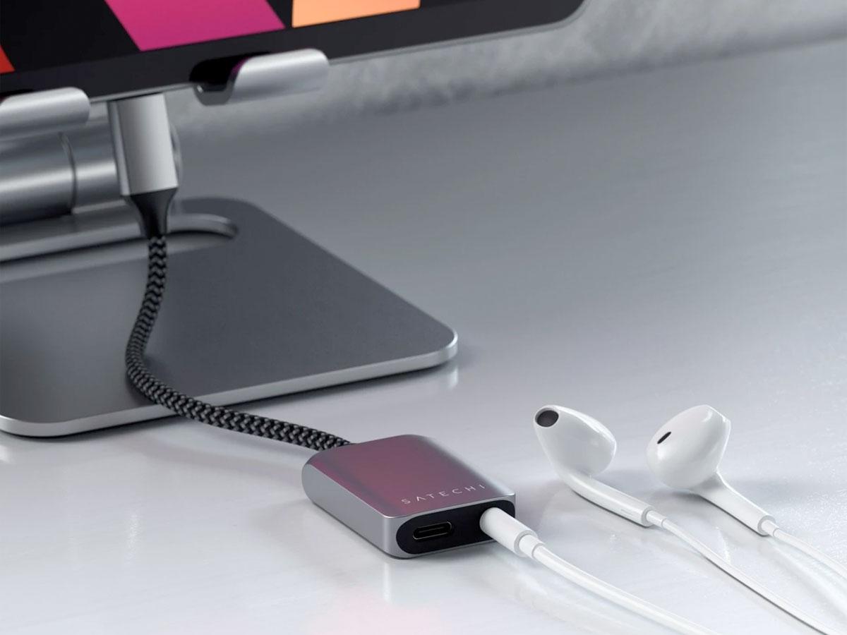 Satechi Aluminium USB-C PD Audio Adapter - Space Grey