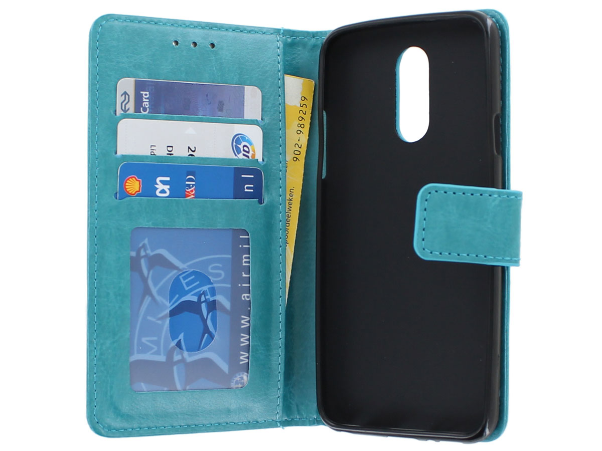 Bookcase Wallet Turquoise - LG Q7 hoesje