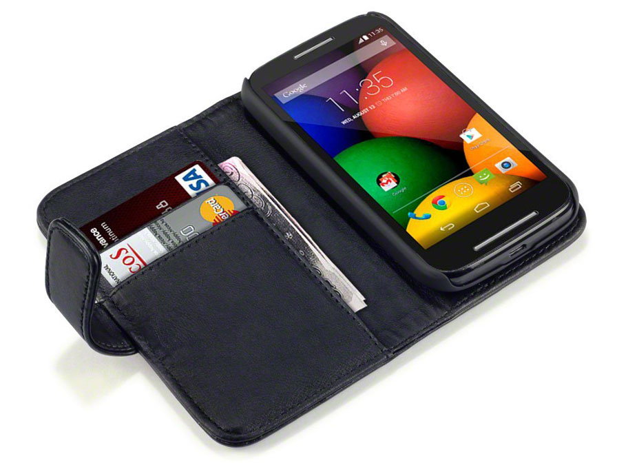 CaseBoutique Leather Wallet Case - Hoesje voor Motorola Moto E