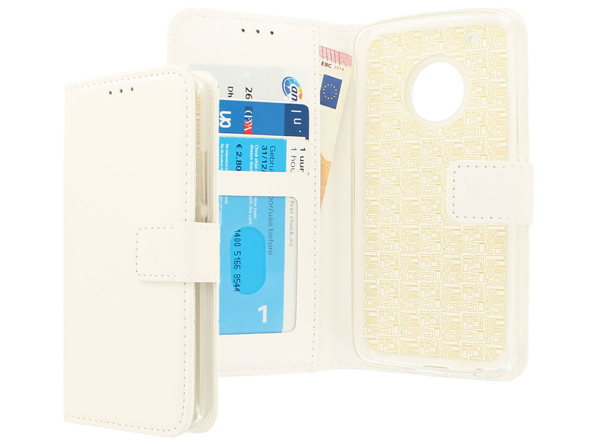 Bookcase Wallet Wit - Motorola Moto G5 Plus hoesje