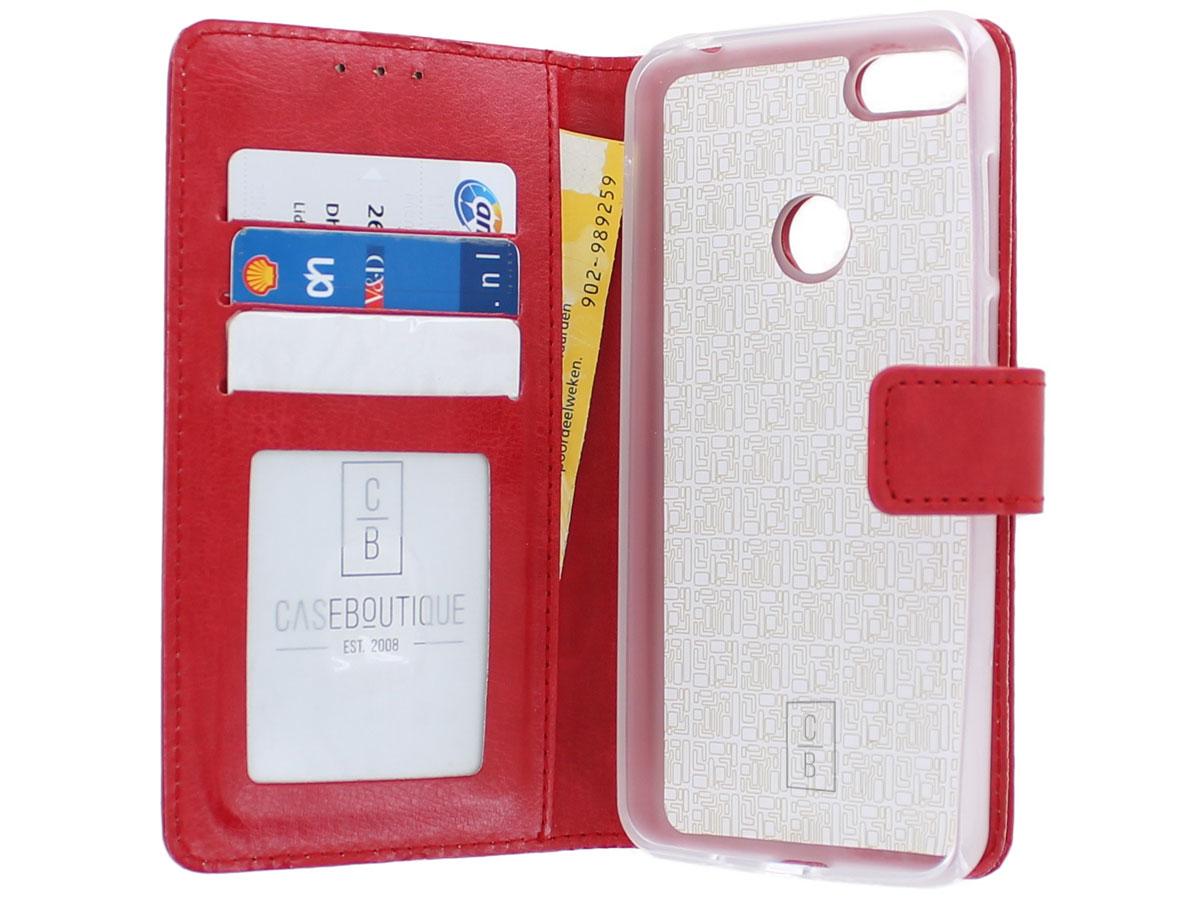 Bookcase Mapje Rood - Motorola Moto E6 Play hoesje