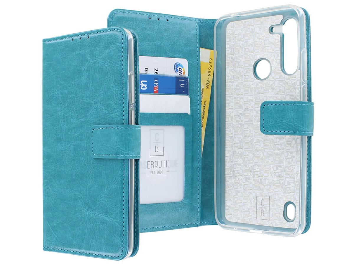 Bookcase Mapje Turquoise - Motorola Moto G8 Power Lite hoesje