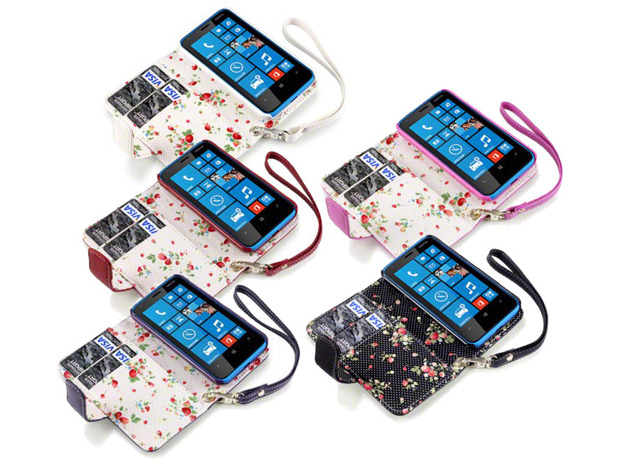 CaseBoutique Flower Wallet Case - Nokia Lumia 620 Hoesje