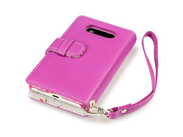 CaseBoutique Flower Wallet Case - Nokia Lumia 820 Hoesje