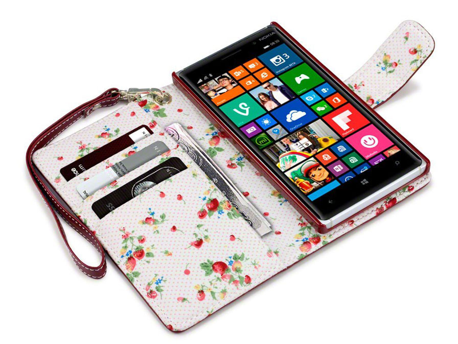 CaseBoutique Flower Wallet Case - Nokia Lumia 830 Hoesje