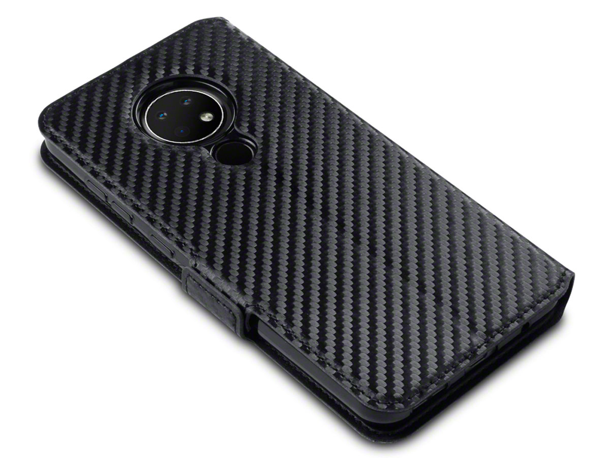 CaseBoutique Slim Bookcase Carbon - Nokia 6.2 hoesje
