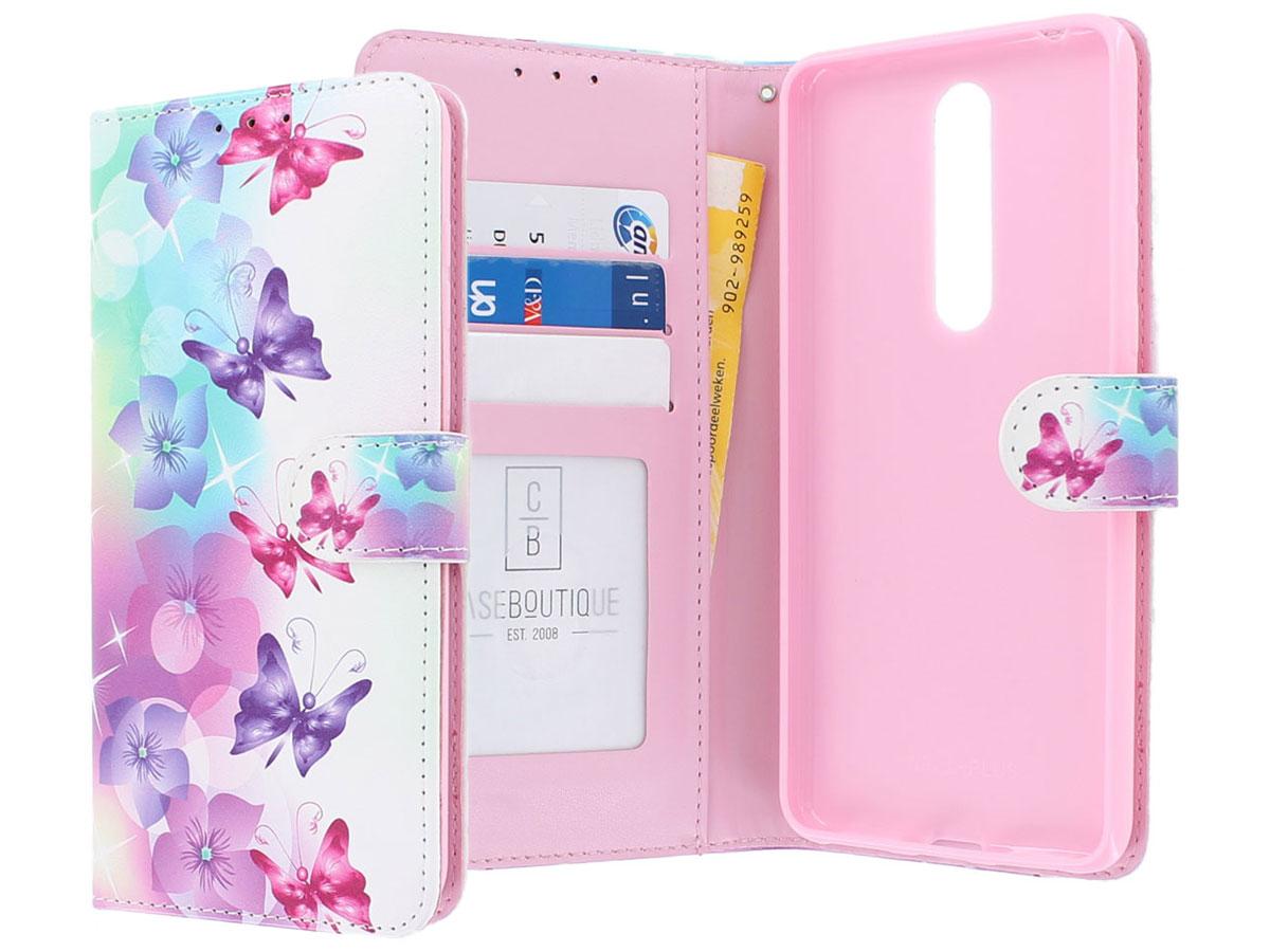 Vlinders Bookcase Mapje - Nokia 3.1 Plus hoesje Roze