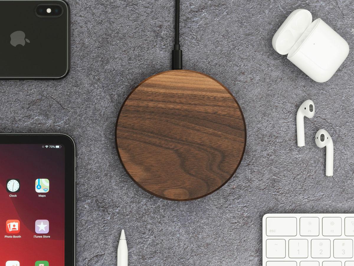 Oakywood Slim Wireless Charger Walnut - Draadloze Oplader van Hout
