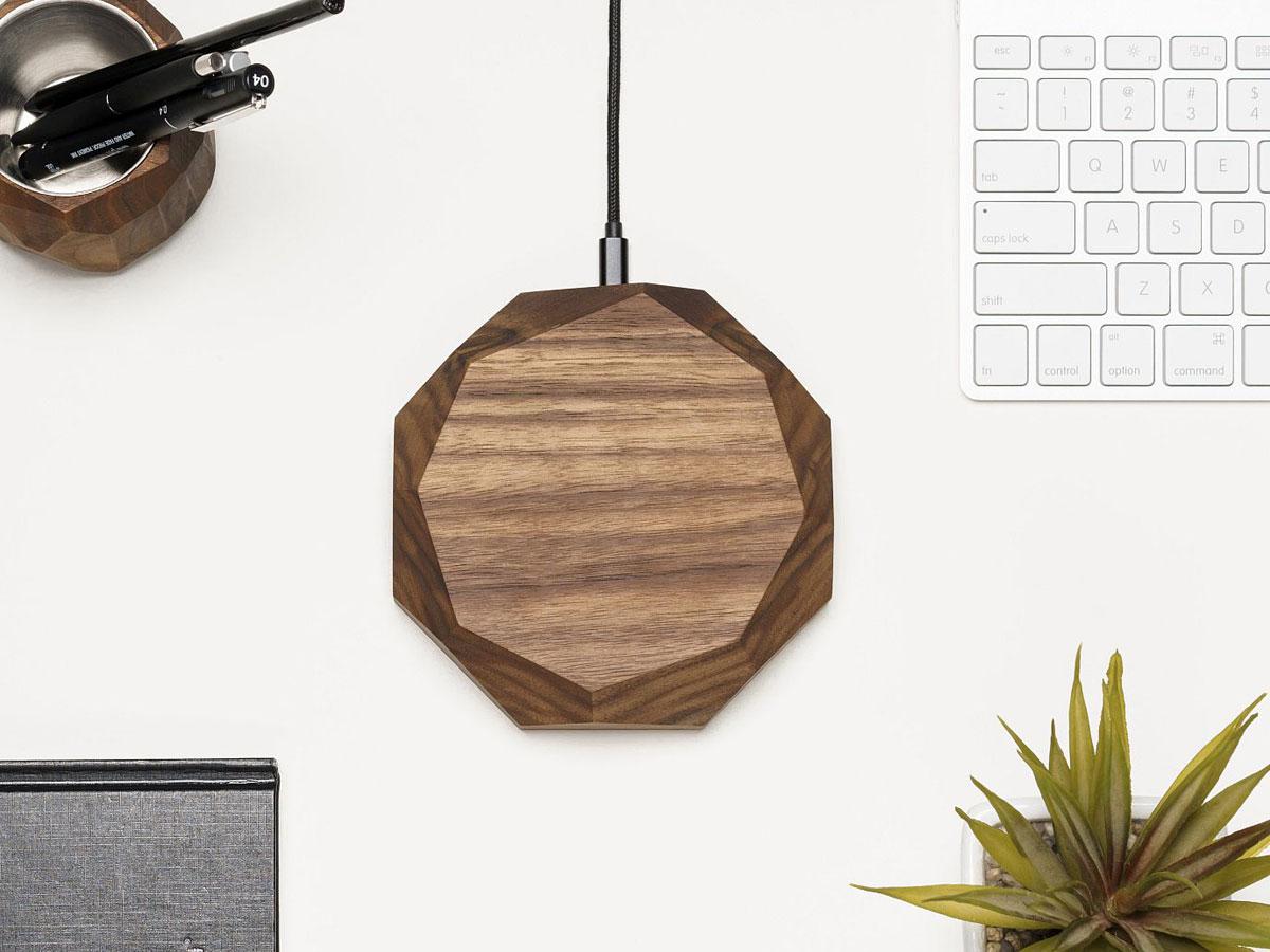 Oakywood Wireless Charger Walnut - Draadloze Oplader van Hout
