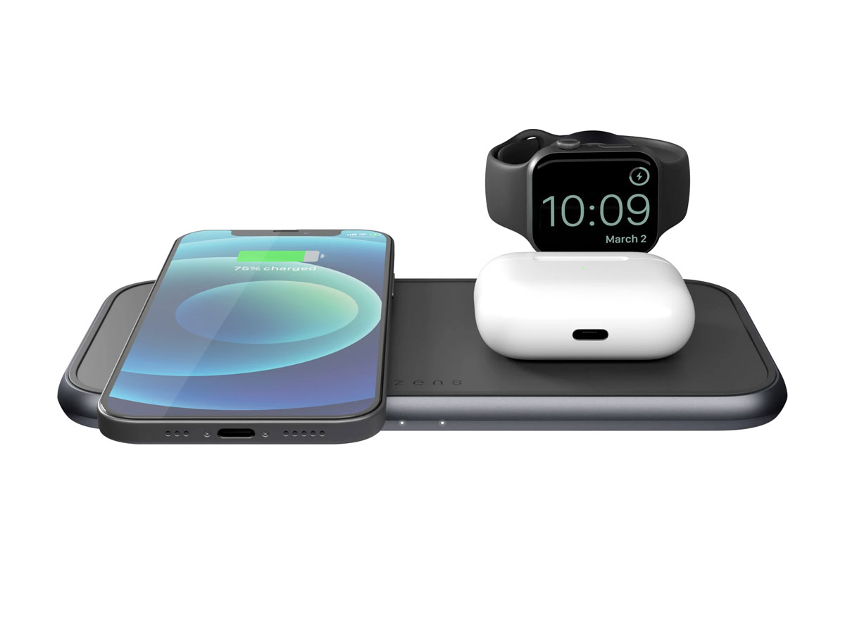 Zens Aluminium 4-in-1 Wireless Charger incl. Apple Watch (2 x 10W)