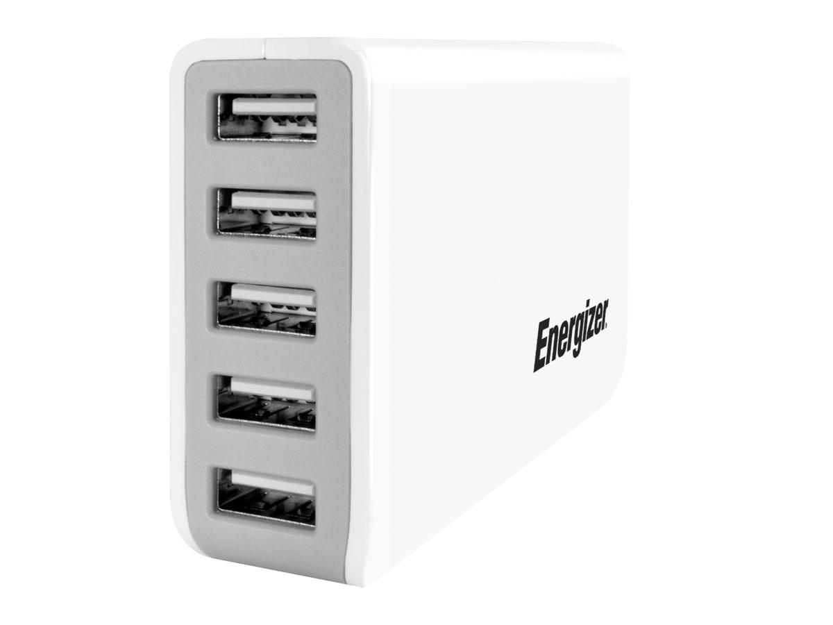 Energizer 8A Multiport Oplader met 5 USB aansluitingen Wit