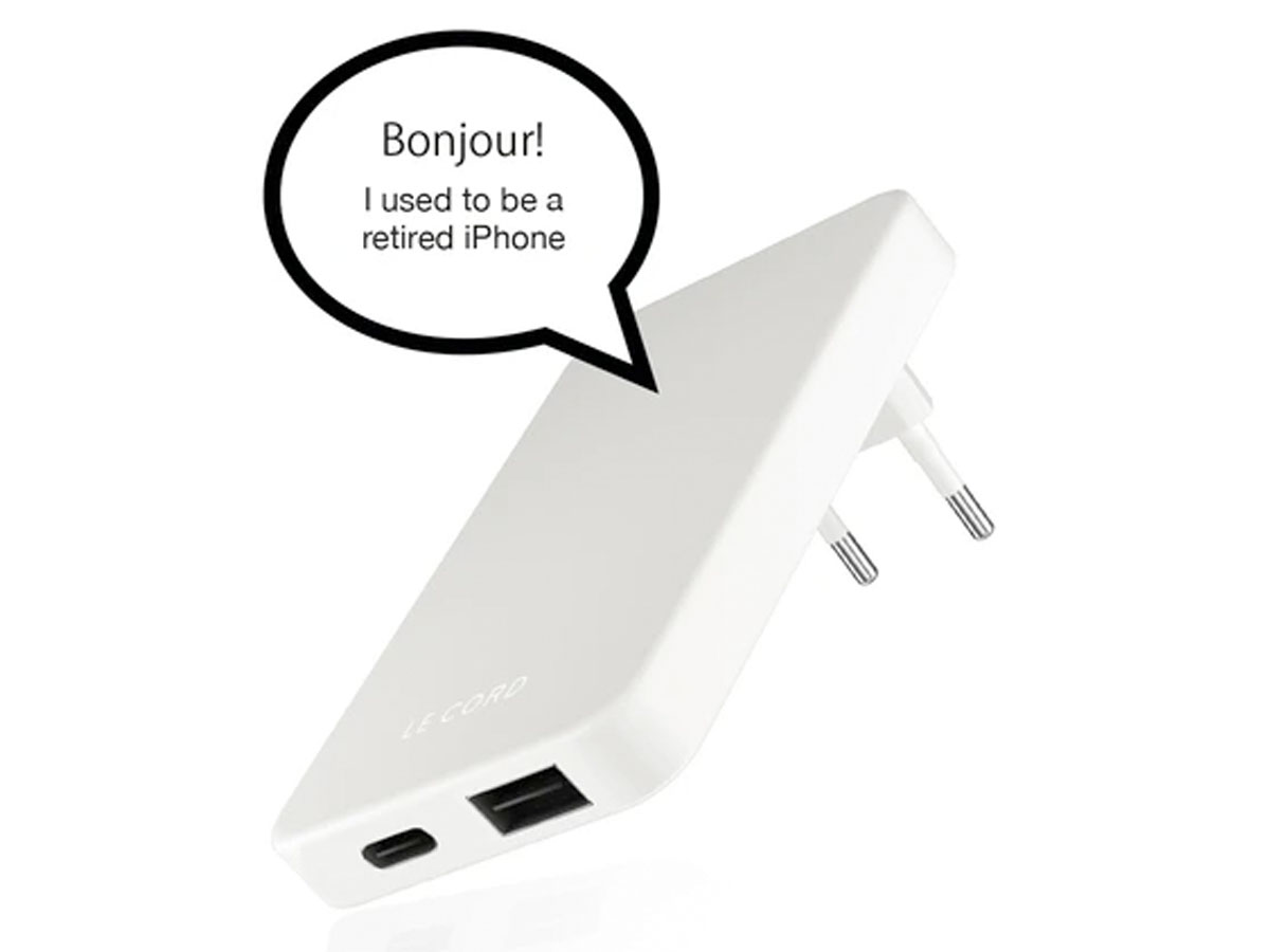 Le Cord Sustainable Charger Wit - Oplader van Gerecycled Plastic (QC/PD)